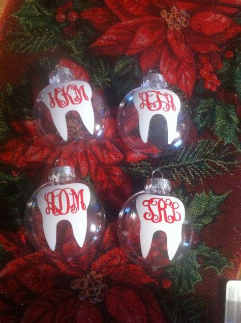 dental themed christmas tree dental tooth acrylic monogram ornament acrylics dentists and great gifts