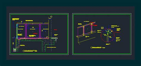 glass railing section  axono view dwg section
