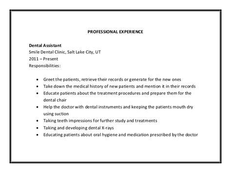 Dental Chairside Assistant Cover Letter by Dental Assistant Description Senior Dental Assistant Description Sle Pdf Free