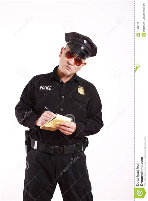 officer writing citation royalty free stock photo