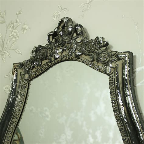 grey silver ribbon ornate style wall mirror shabby