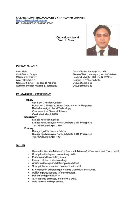 resume sle biodata format philippines computer science resume philippines sle list education on verbs best resume templates