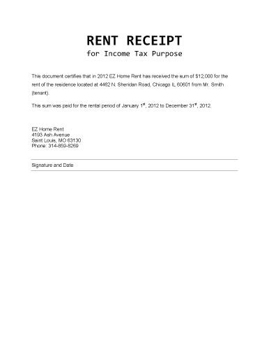 Rent Bill Letter rent receipt for income tax purposes microsoft word