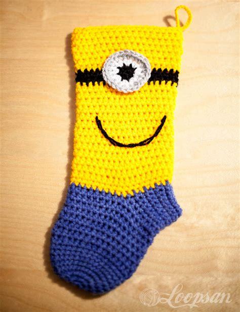 crochet pattern for minion christmas stocking minion inspired christmas sock free pattern loopsan