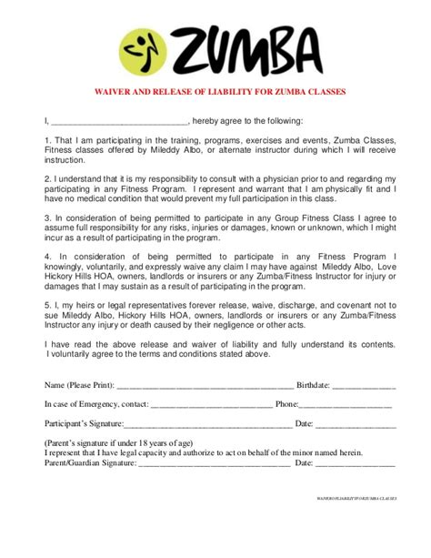 waiver of liability for zumba classes at hickory hills