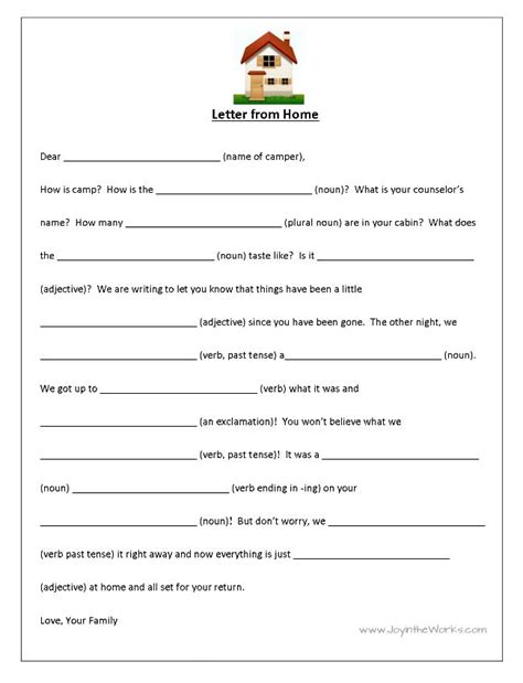 Mad Libs Letter Printable by Fill In The Blank Letters To And From C Mad