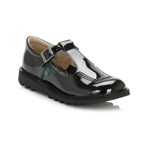 Kickers Tiranosaurus Casual Black Leather kickers juniors shoes kick t bar buckle leather casual boys sandals ebay