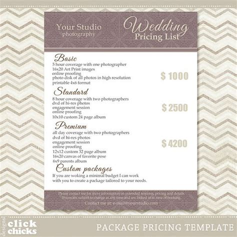 Photography Package Pricing List Template Wedding Packages Photography Package Pricing Template