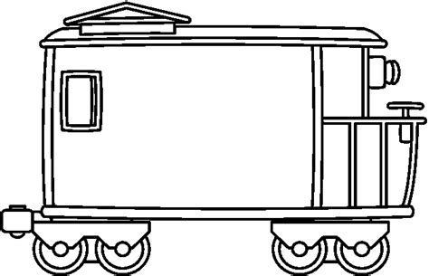 coloring page train caboose caboose black and white clipart