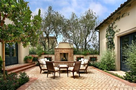 spanish courtyard designs unique outdoor patio with stylish patterned brick floor