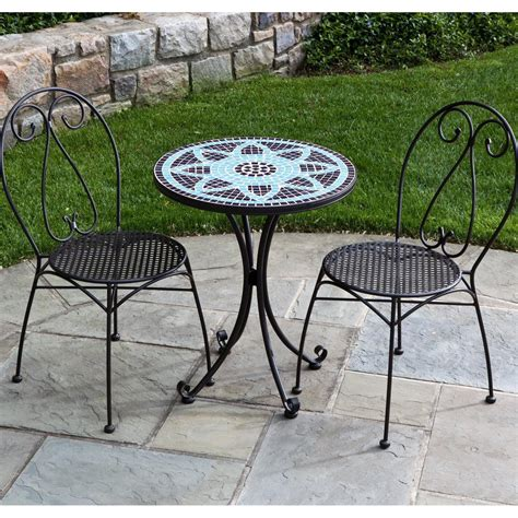 Wrought Iron Patio Table Set Alfresco Home Le Mans 2 Person Wrought Iron Patio Bistro Set With Mosaic Table Top Charcoal