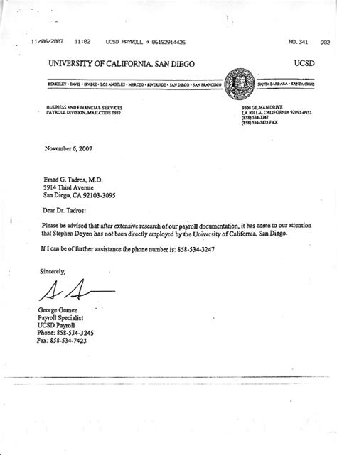 Ucsd Official Letterhead Stephen Doyne Files Angiemedia