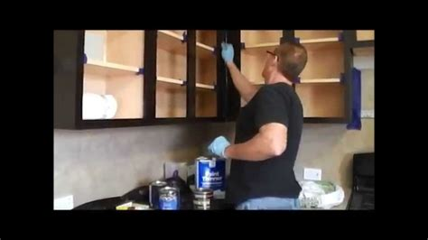 Cabin Kitchen Cabinets by How To Gel Stain Kitchen Cabinets Youtube