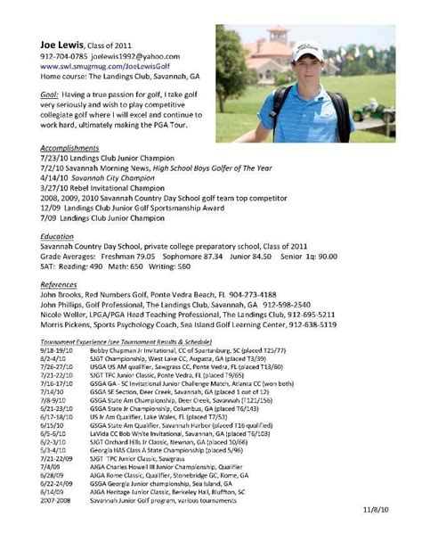 College Golf Resume Template College Golf Resumes Best Resume Collection