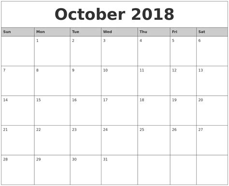 printable calendar october 2018 october 2018 monthly calendar printable