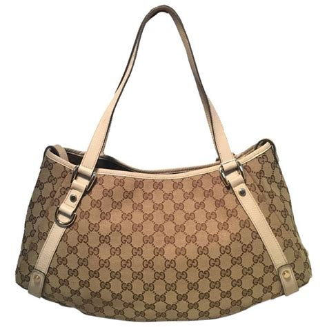 gucci beige leather and monogram abby tote shoulder bag for sale at 1stdibs