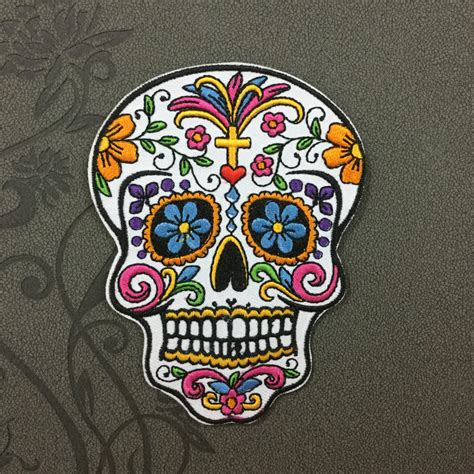 white sugar skull patches iron on patch sew on patch