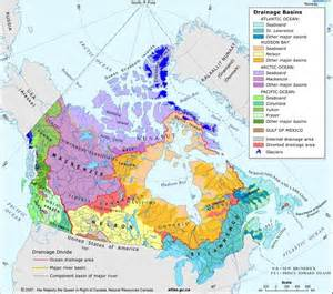 canada map with rivers and lakes this map shows the five drainage areas in canada