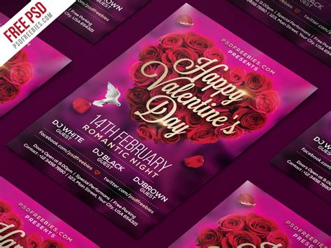 vakentine card photoshop template valentines day flyer psd template psdfreebies