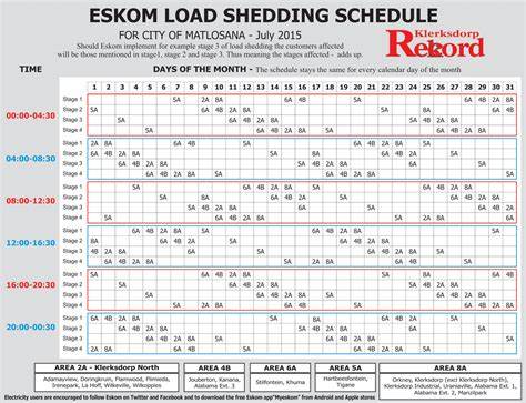 Printable Load Shedding Schedule | load shedding scedule for the month