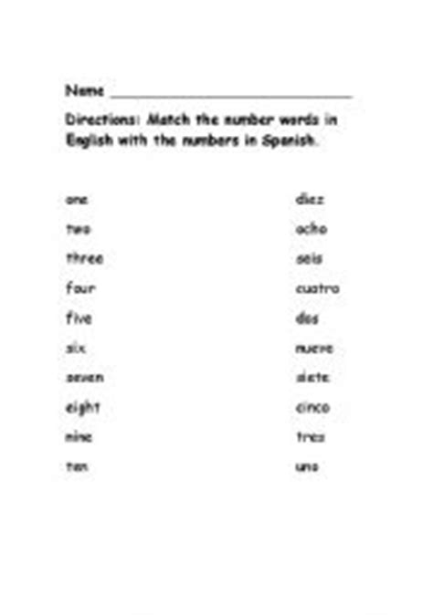 printable numbers 1 10 in spanish english worksheets number words match 1 10 english spanish