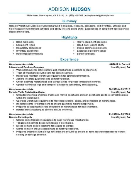 free warehouse manager resume sles best warehouse associate resume exle livecareer