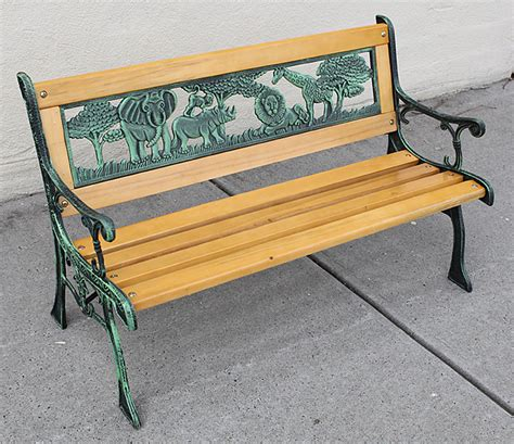 kids bench seat kids park bench wooden bench cast iron leg garden outdoor