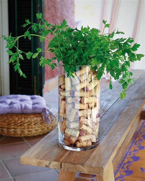 Diy Garden Decor Ideas Diy Garden Table Decor Ideas Glass Vase Corks Parsley