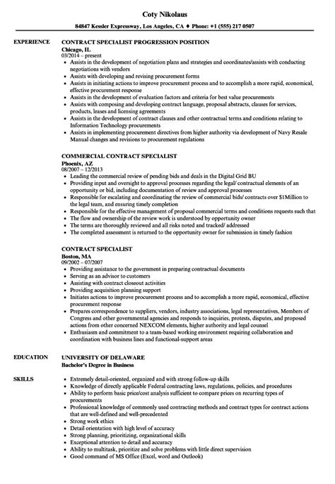 Contract Support Specialist Resume by Contract Specialist Resume Sles Velvet