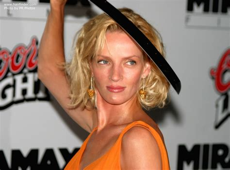 uma thurman with nearly shoulder length hair
