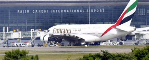 emirates hyderabad a 380 makes emergency landing at hyderabad airport