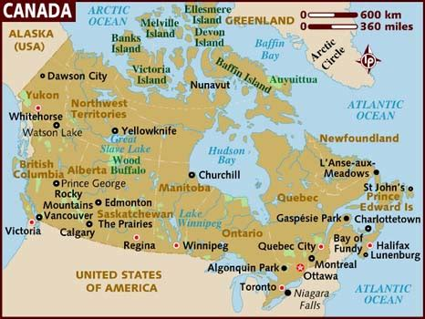 map of usa and canada with city names map of canada