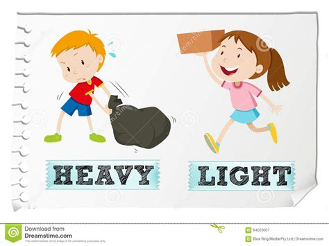 Antonym For Light by Opposite Adjectives Heavy And Light Stock Vector Image