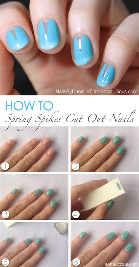 nail art triangle tutorial spring nails with cut out spikes tutorial