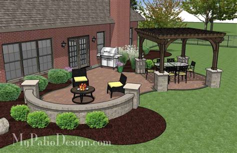 the concrete paver patio design with pergola features large circular areas for outdoor dining
