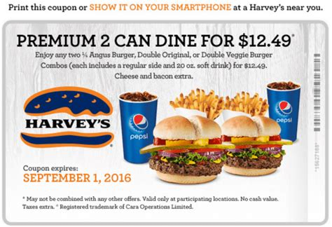 discount voucher harveys harvey s canada new coupons premium 2 can dine for 12 49