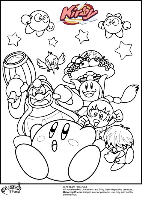Kirby Coloring Pages Team Colors