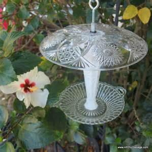 Hanging Bud Vase Bird Feeder Repurposed Vintage Glass Bud Vase