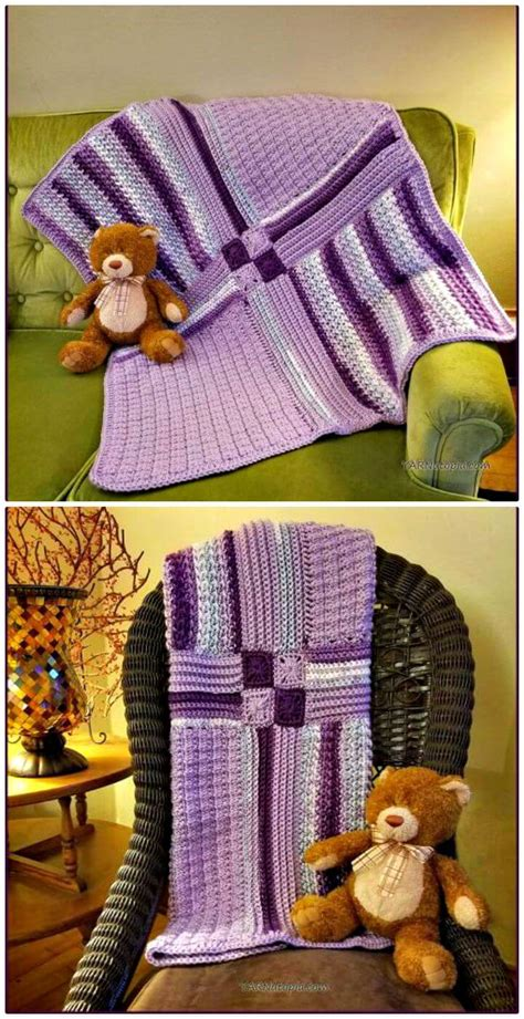 Patchwork Baby Blanket Tutorial - 100 free crochet blanket patterns to try out this weekend