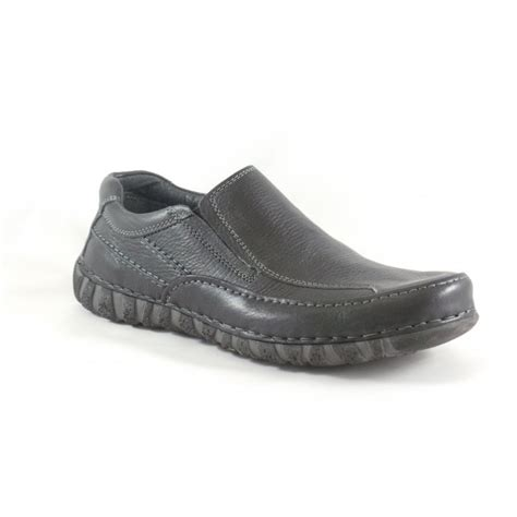 lotus s bedworth black leather slip on casual shoe