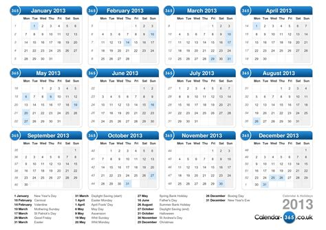 2013 printable calendar year view calendar 2013