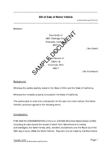 sample bill of sale real estate forms