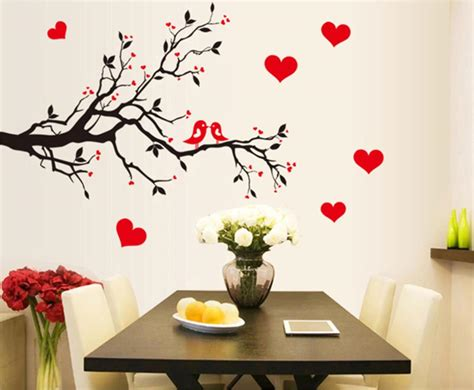 cute home decor fashion red love heart wall stickers home decor life tree