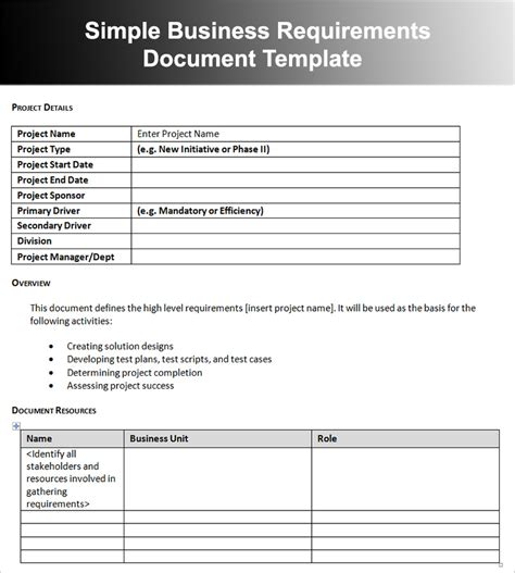 Simple Business Requirements Document Template by 11 Business Requirements Documents Free Premium