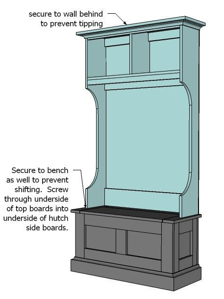 hall tree bench plans ana white build a mimi s hall tree hutch free and easy