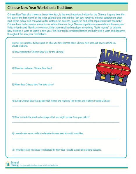 new year comprehension activities reading comprehension worksheet with new year