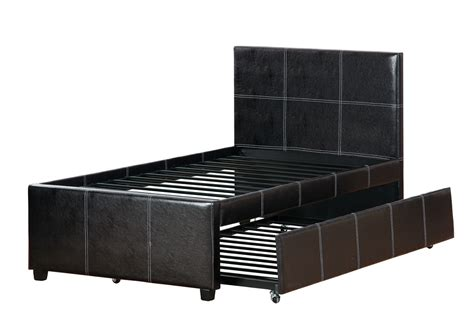 size bed frame with trundle size espresso faux leather bed frame trundle