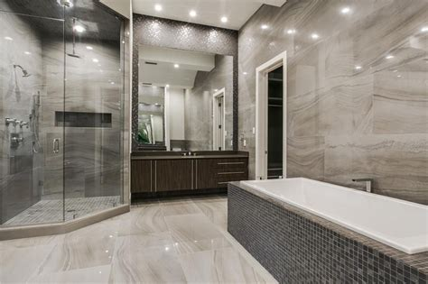 modern master bathrooms modern master bathroom with exposed beam stone tile in