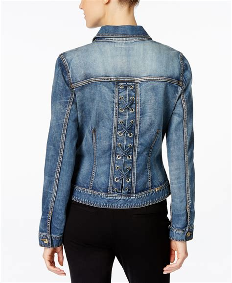 Lace Up Sleeve Denim Jacket inc international concepts lace up back denim jacket only