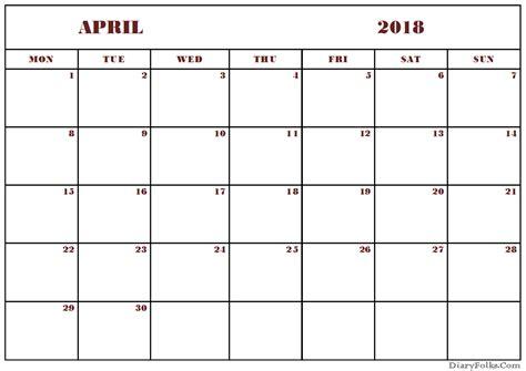april 2018 calendar excel template